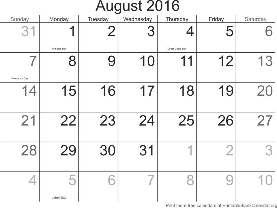 August 2016 Free Printable Calendar Templates - Printable Blank
