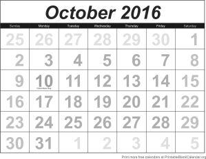 free calendar October 2016