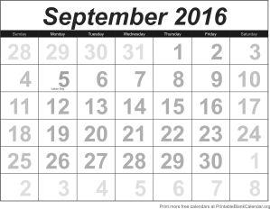 free calendar September 2016