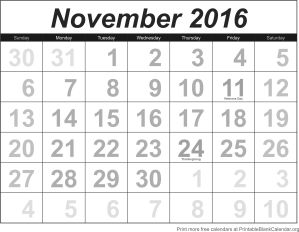 free calendar november 2016