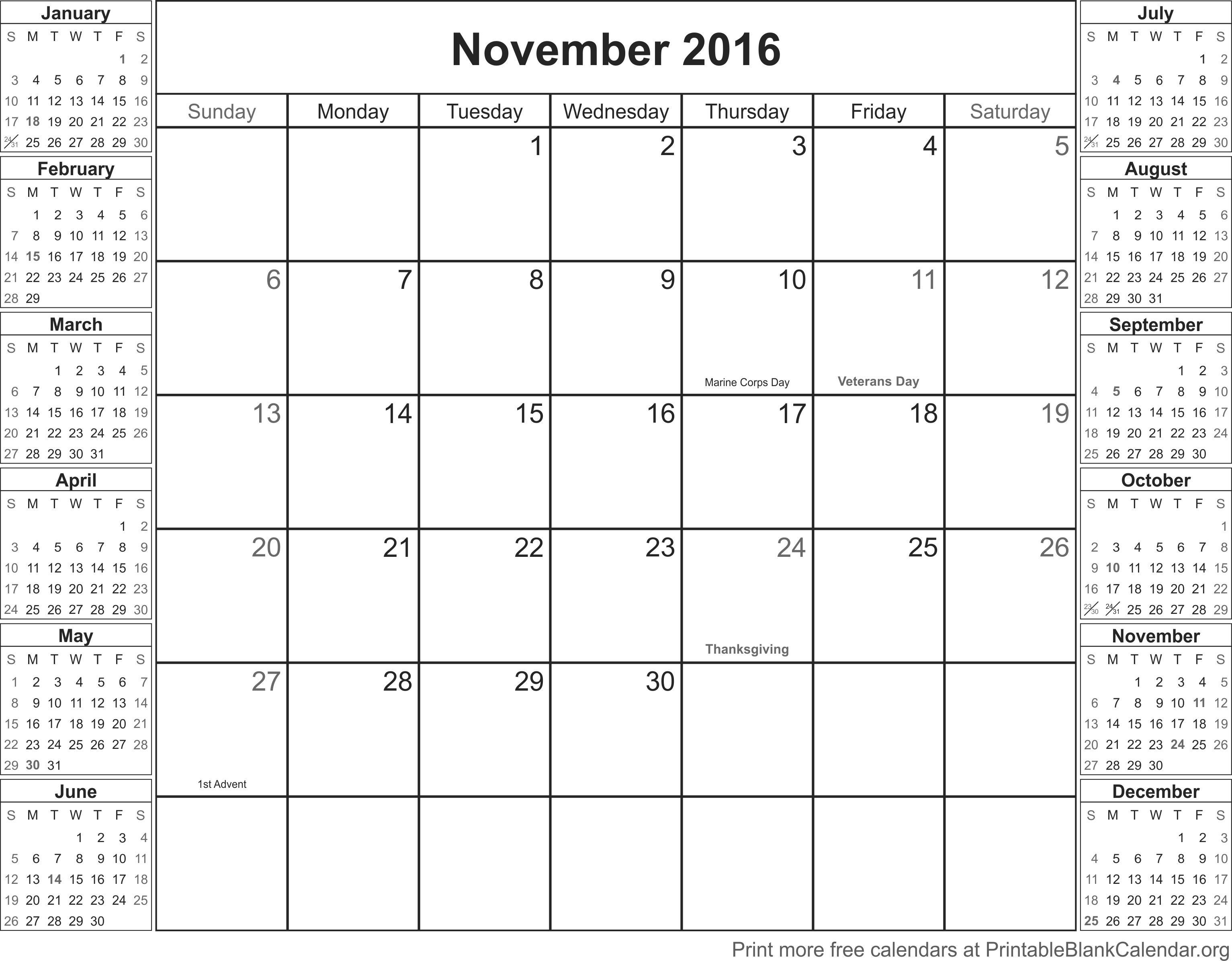November 2016 Printable Blank Calendar