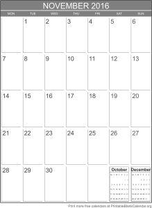printable calendar november 2016