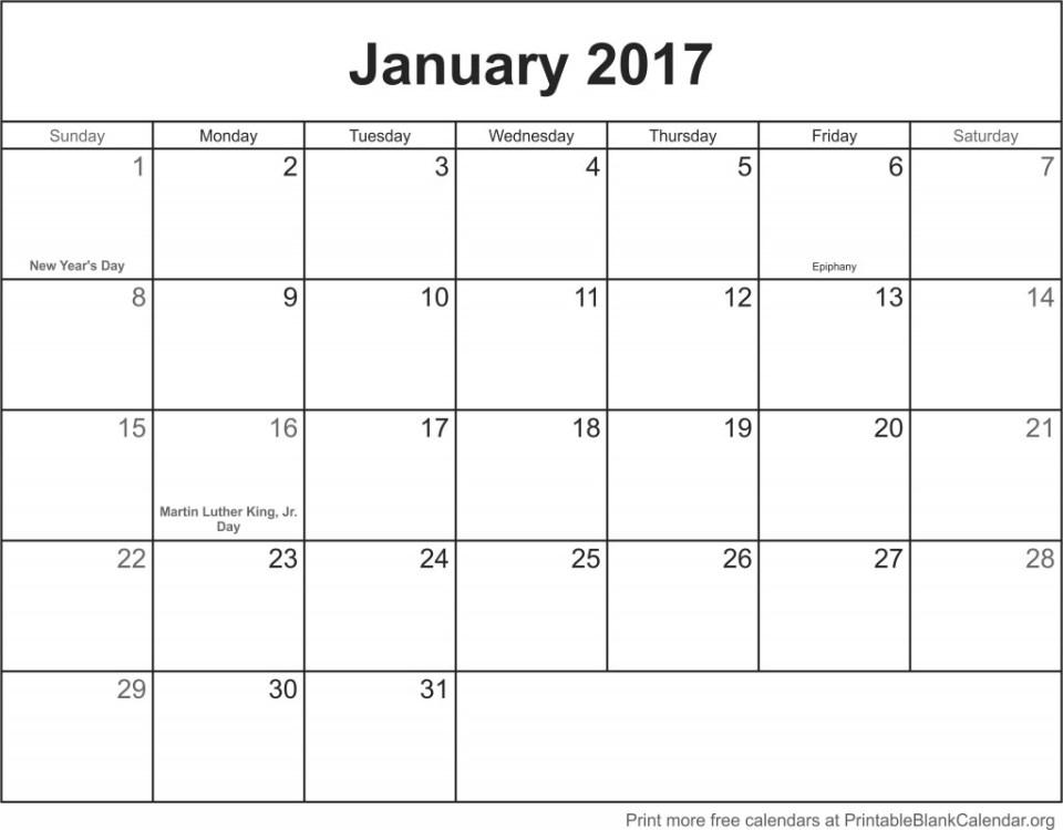 January 2017 calander