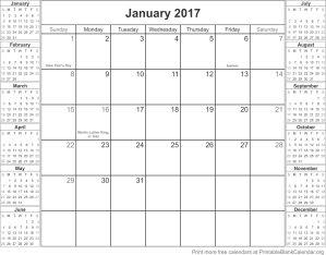 January 2017 montlhy calendar