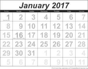 calendar template January 2017