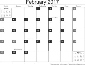 February 2017 calandar