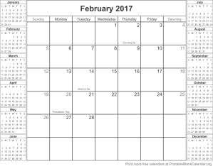 February 2017 free printable calendar
