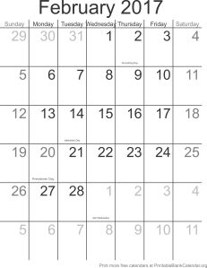 February 2017 montlhy calendar