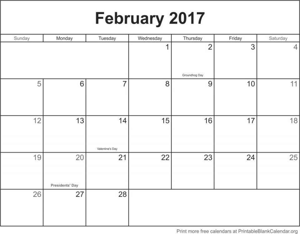 free calendar February 2017