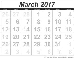 free calendar March 2017