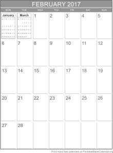 printable calendar February 2017