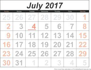 July 2017 blank calendar template
