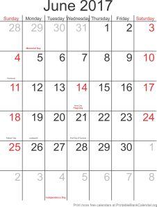 June 2017 free printable calendar