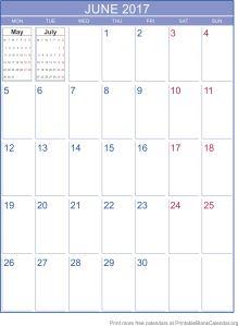 June 2017 printable calendar template