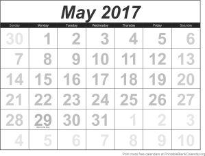 May 2017 blank calendar template