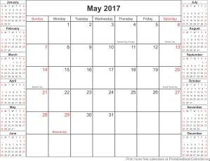 May 2017 free printable calendar