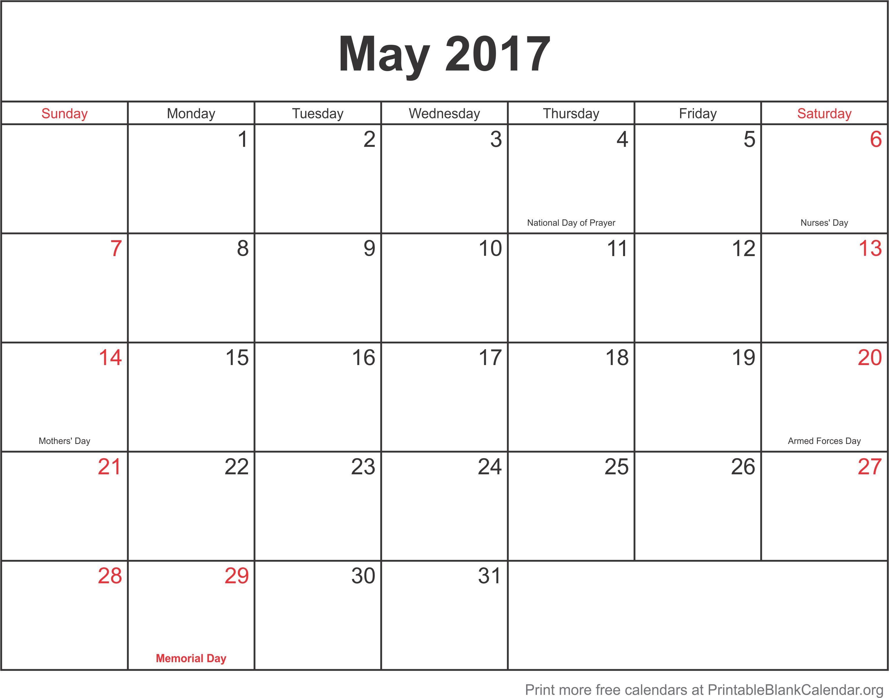 May 2017 printable calendar template Printable Blank Calendarorg – Blank Calendar Template