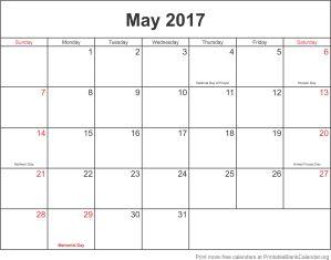 May 2017 printable calendar template