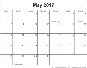 May 2017 printable calendar template