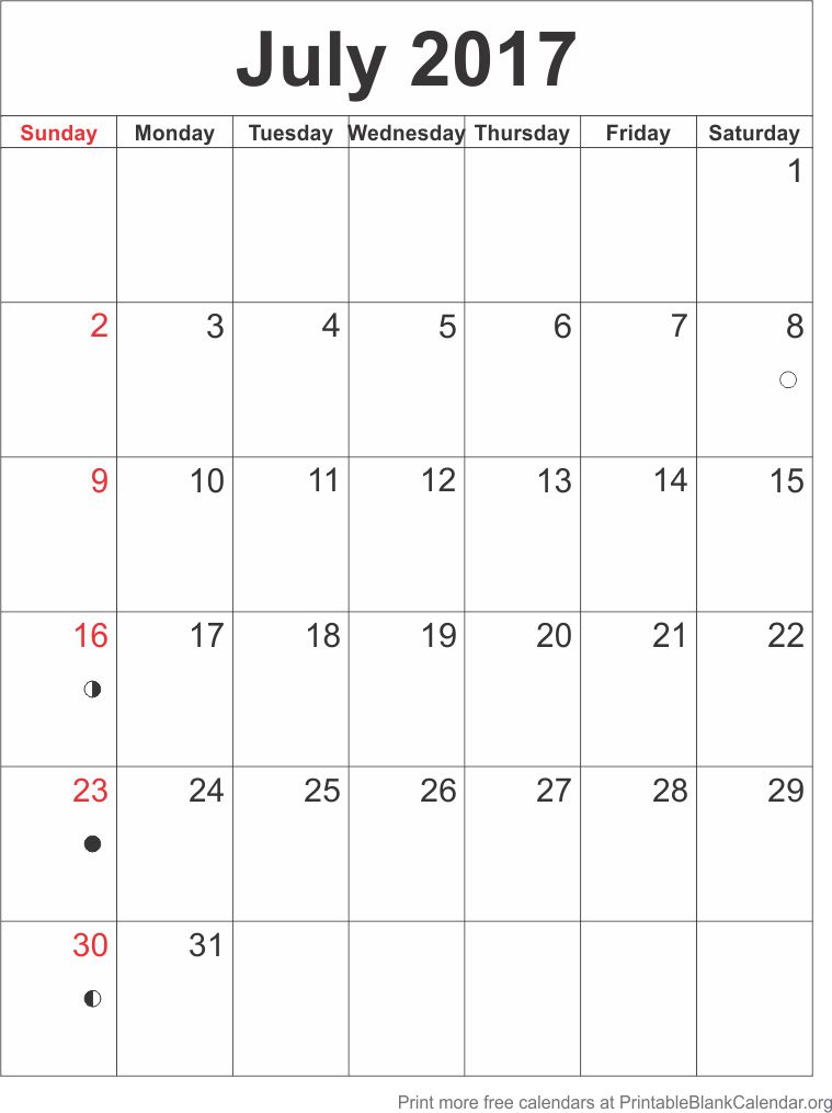 Calendar Template July 2017 - Printable Blank Calendar.Org