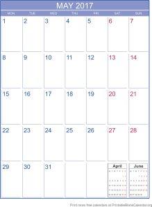 printable calendar May 2017