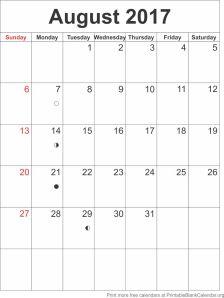 August 2017 blank calendar template
