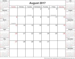 August 2017 printable calendar template