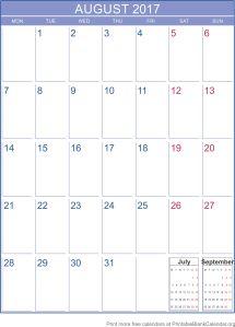 free calendar August 2017
