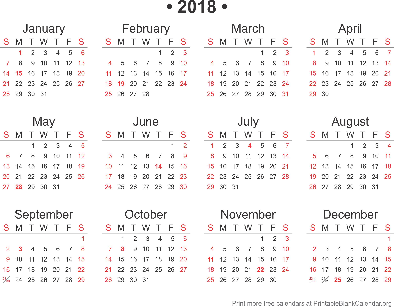 2018 calendar - Printable Blank Calendar.org