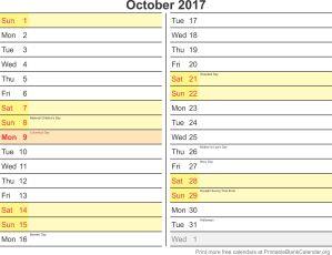 October 2017 blank calendar template
