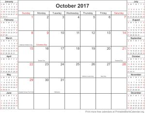 October 2017 calander