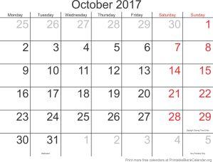 October 2017 free printable calendar