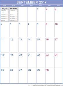 September 2017 printable calendar template