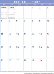 September 2017 printable calendar template