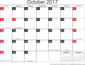free calendar October 2017