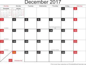 December 2017 calandar