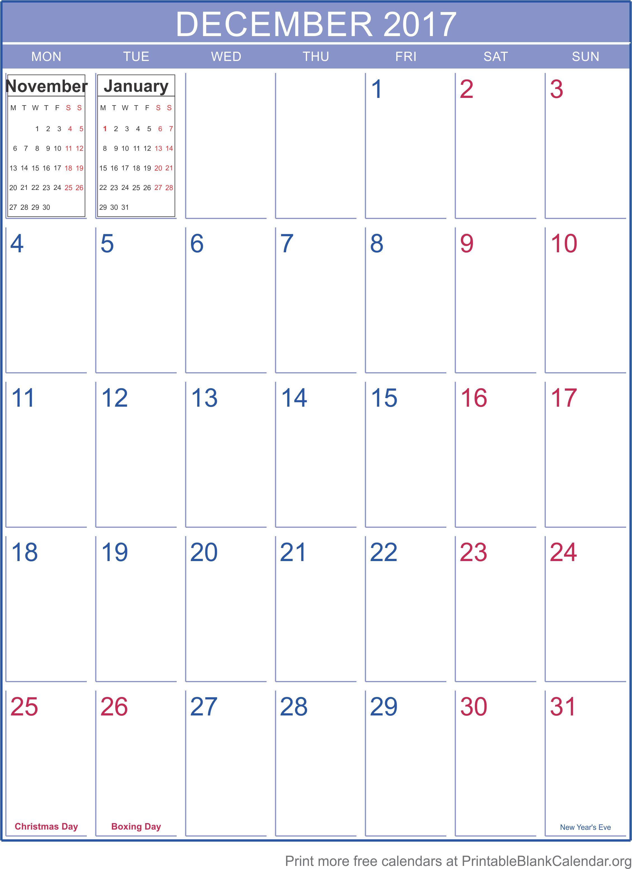 blank calendar december