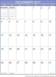 December 2017 monthly calendar