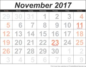 free calendar november 2017