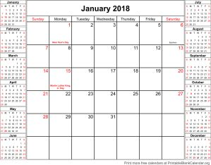 January 2018 calendar with holidays