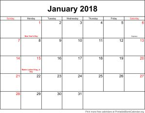 January 2018 monthly calendar