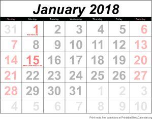 free calendar January 2018