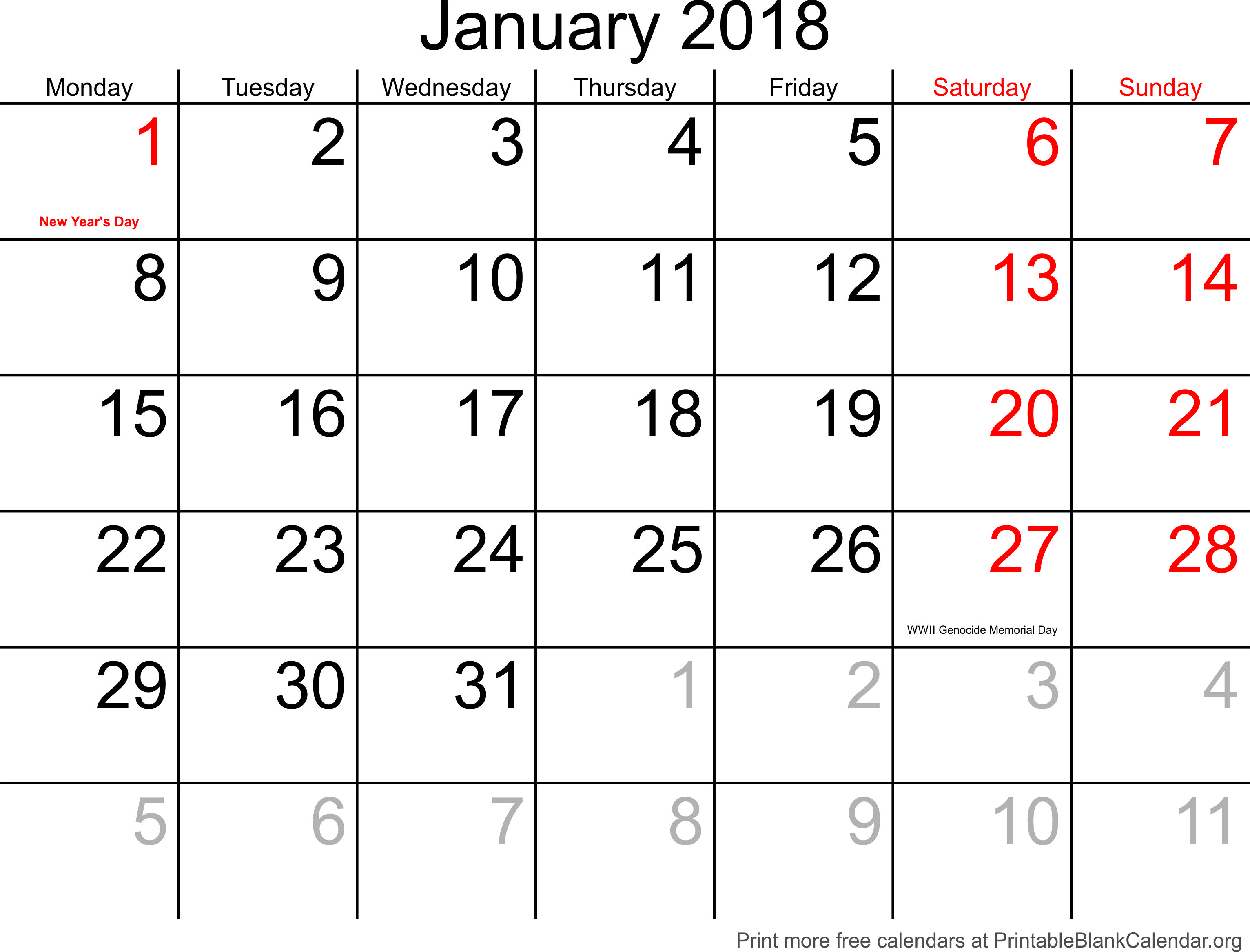 picture regarding January Printable Calender named printable calendar January 2018 - Printable Blank