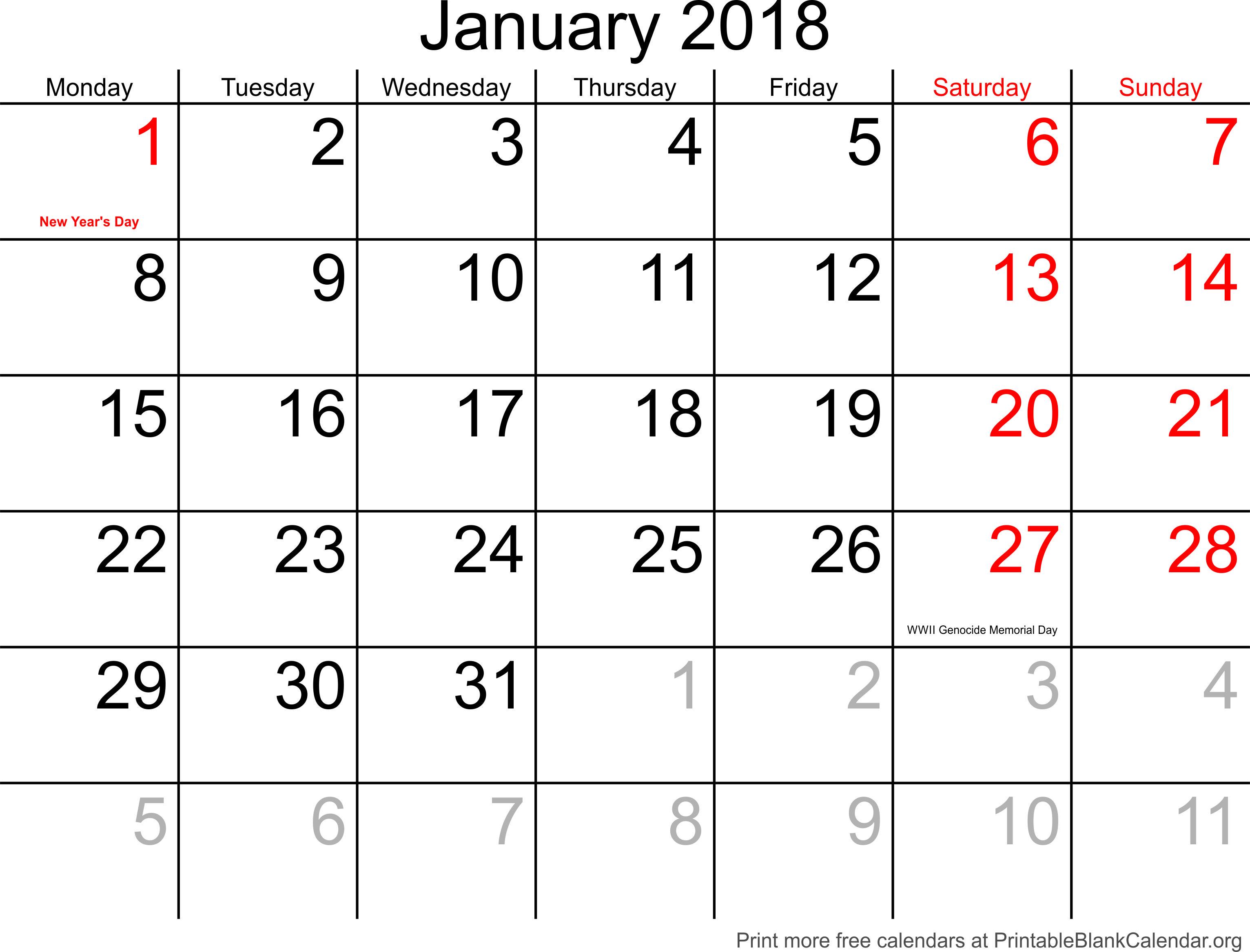 printable calendar january 2018