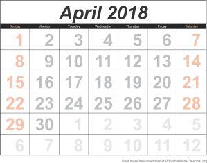 April 2018 calandar