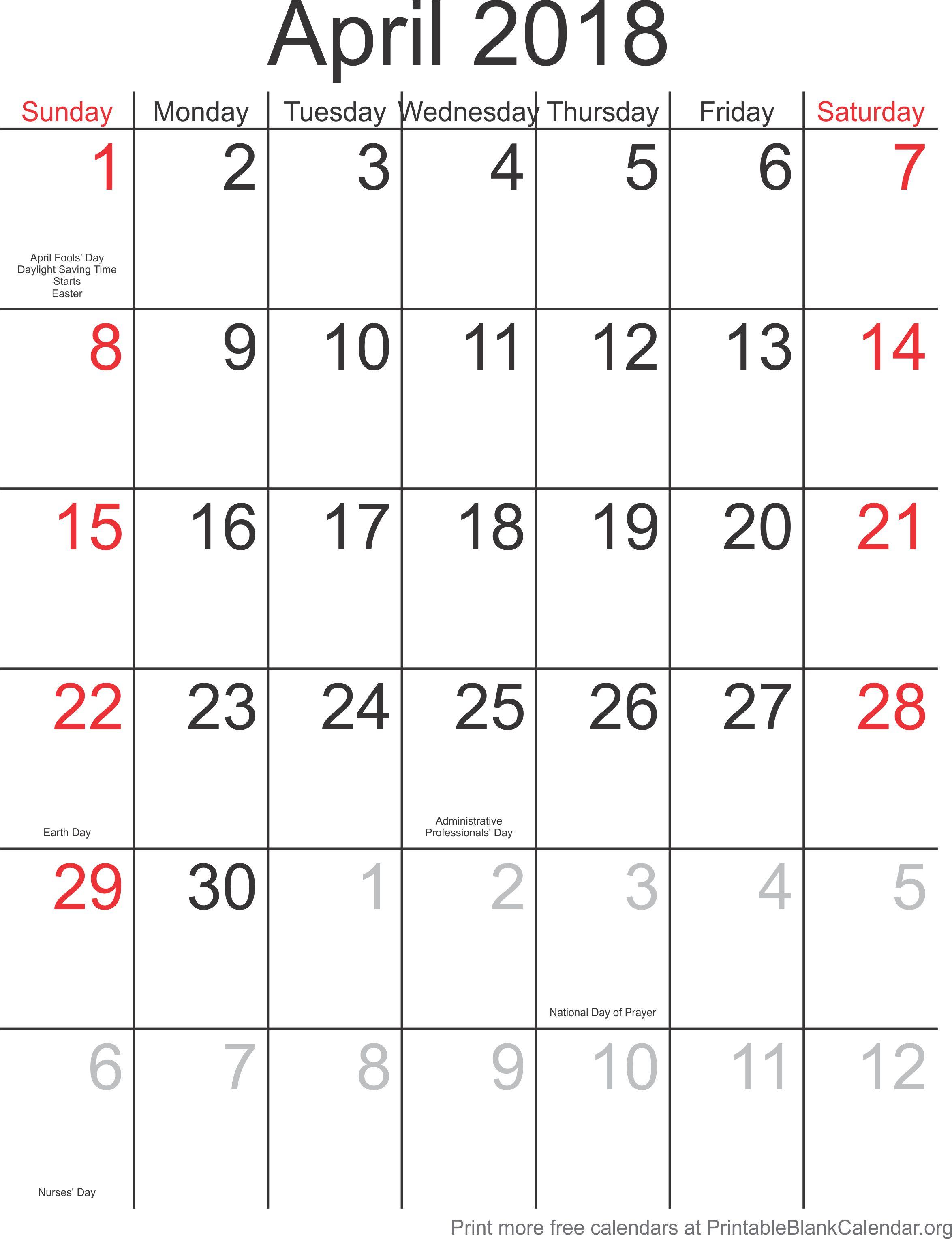 April 2018 Printable Calendar Template Printable Blank Calendar