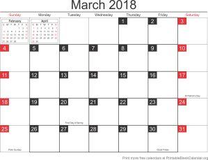 March 2018 blank calendar-template
