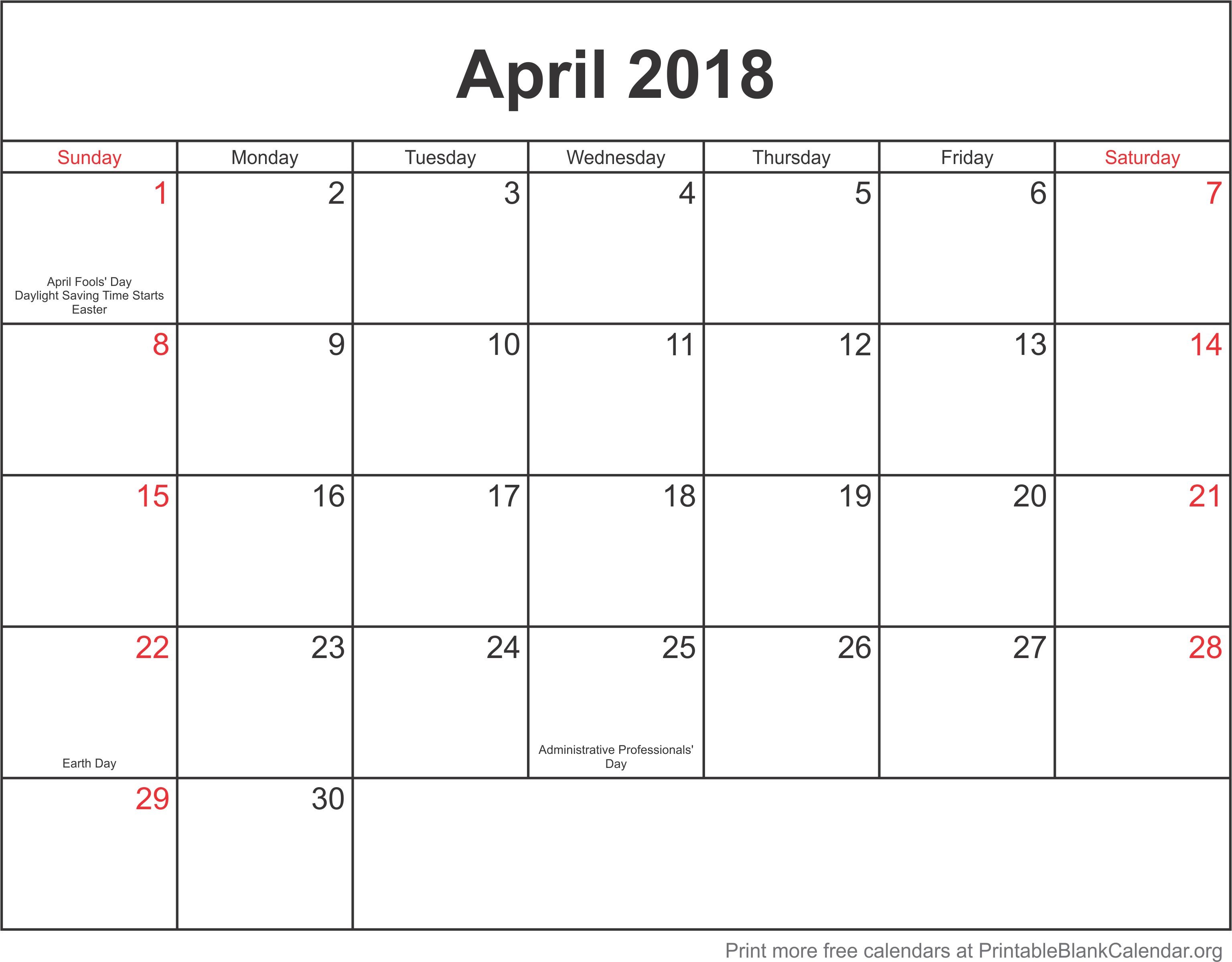 Blank Calendar Template April : Printable blank calendar free templates