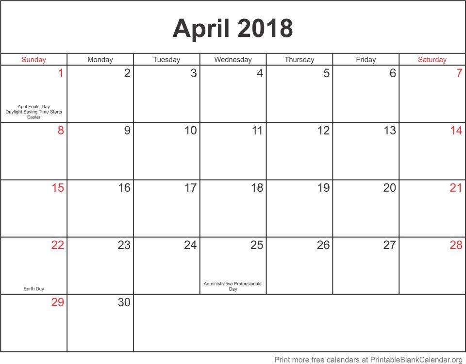 calendar template April 2018