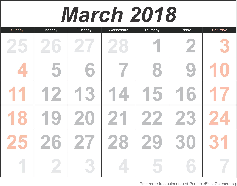 free calendar march 2018